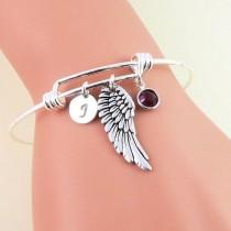 wedding photo - Silver Angel Wing Bangle Bracelet