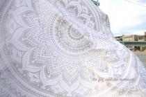 wedding photo - Gorgeous silver round indian tapestry boho blanket with pom poms or fringe, round beach throw, round wall tapestry, boho decor tapestry