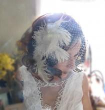 wedding photo - Ostrich Feather Vintage 1930's gatsby inspired birdcage blusher veil 1920's mini short blusher french net russian net