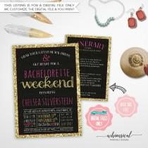 "wedding photo - Bachelorette Weekend Invite & Itinerary ""Sparkle On Pink"" (Printable File Only) Fling Pink Gold Faux-Glitter Bachelorette Invite Sparkle"