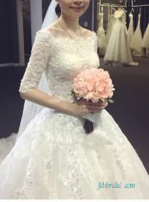 wedding photo - Dreamy modest half length sleeved princess ball gown wedding dress