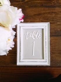 wedding photo - Rustic White Shabby Chic Table Numbers, Picture Frames with Calligraphy, Wedding Decor