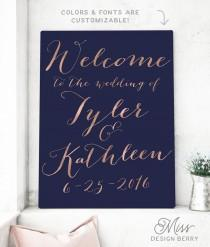 wedding photo - Wedding Welcome Sign - Rose Gold Wedding Sign - Wedding Reception Sign - Gold Wedding Signage - The Kathleen