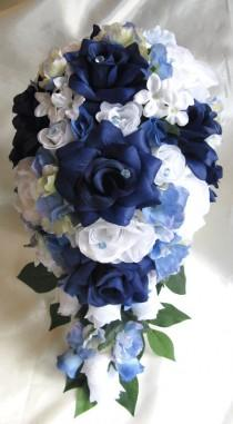 wedding photo - Wedding Bouquet Bridal Silk flower 17 pieces package NAVY BLUE WHITE Periwinkle Cascade Free shipping boutonnieres Roses and Dreams