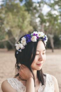 wedding photo - Blue and white flower crown,floral crown,flower girl crown,hair accessories,silk flower,bridal headpiece,pansies,cornflower,cherry blossom