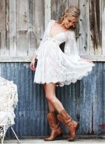 wedding photo - A-Line/Princess V-neck Short/Mini Tulle Lace Wedding Dress With Beading