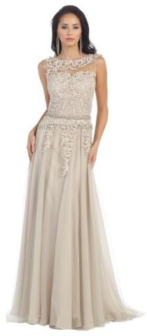wedding photo - Long Mother Of The Bride Dresses Sleeveless Lace Pleated Chiffon Prom Dress