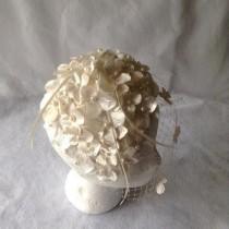 wedding photo - Vintage Styled Ivory Bridal Flower Half Hat Headpiece with short Blusher Slanted birdcage veil-Ivory Bridal Birdcage Flower Fascinator-HBJB9