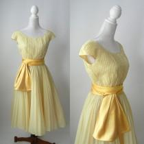 wedding photo - 1950s Dress, 1950 Yellow Dress, Vintage Yellow Dress, Retro 50s Dress, Formal Yellow Dress, Yellow Wedding Dress, Yellow Bridal Dress, Rappi