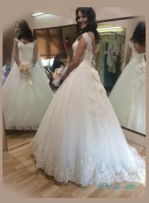 wedding photo - Beautiful low back princess tulle ball gown wedding dress