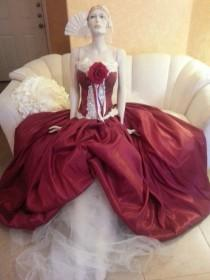 wedding photo - Sample Gown Listing / Ruby Middle Eastern Indian Goddess Vintage Victorian Inspired Taffeta Bridal Wedding Ballgown (All Sizes)