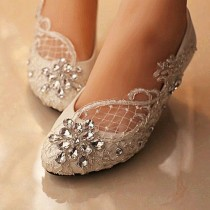 wedding photo - Lace White Ivory Crystal Flat Wedding Shoes