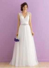 wedding photo - A-Line/Princess V-neck Court Train Tulle Wedding Dress With Beading Appliques Lace