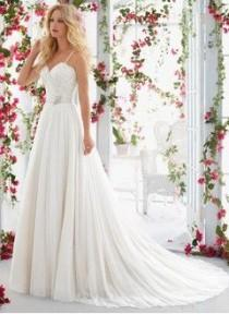 wedding photo - A-Line/Princess Sweetheart Court Train Tulle Wedding Dress With Beading Appliques Lace