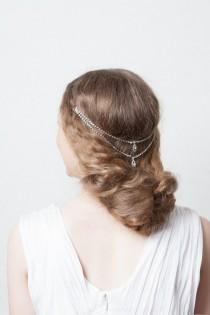 wedding photo - Weddding Headpiece -Bohemian Bridal Hair Accessory - crystal Head chain - Up-do Wedding Hair accessory - bun accesory