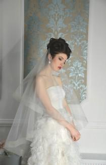 wedding photo - horsehair drop double tier wedding veil Style 01607V,Blusher Veil, Tulle Two Layer with Horsehair Trim, Unique Veil