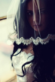 wedding photo - tulle birdcage blusher bridal veil with alencon lace in ivory