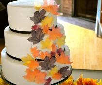 wedding photo - Wedding Cake Topper EDIBLE Fall Leaves - Assorted set of 32 -Cake & Cupcake toppers - Food Accessories