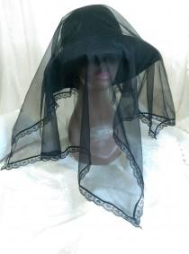 wedding photo - Black Mourning Funeral Chapel Scarf Veil, Sheer Nylon and Black Heart Lace Head Covering, Gothic Wedding Acessory