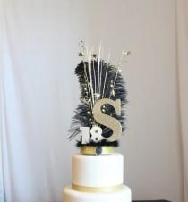wedding photo - Gatsby black and gold Initial or Letter and Number feather cake topper, Ostrich Feather, Roaring 20s, overthetopcaketopper
