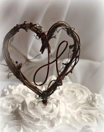 wedding photo - Letter Caketopper, Woodland Decor, Grapevine Cake Topper