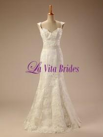 wedding photo - Cap sleeves lace tulle wedding dress with low back