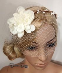 wedding photo - Woodland wreath, Bridal Veil, Wedding Veil, Face Veil, Birdcage Veil, mini veil, Blusher veil, lace Flower Fascinator, Head piece