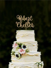 wedding photo - Custom cake topper, wedding cake decorations, personalized wedding cake topper bride and groom, name toppers for cakes, initial cake toppers