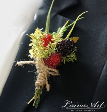 wedding photo - Wedding Boutonniere Wedding Boutonnieres Groom Boutonnieres Berry Boutonniere Groomsmen Boutonnieres