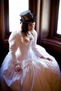 wedding photo - Steampunk Wedding Dress- Corset Jacket Alternative Bridal Gown Cinderella Fairytale- Custom to Order