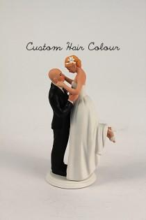wedding photo - True Romance Interlocking Bride and Groom Cake Topper - Medium Skin Tone Bald Groom and Light Skin Tone Bride - Personalized Wedding Toppers