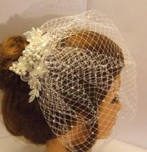 wedding photo - Blusher veil birdcage veil with bridal comb  Plain veil , Pearls or  diamonte around edge, Scattered pearls or Scattered Diamonte w Top comb