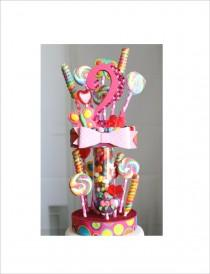 wedding photo - Candy Land two tier Jellybean and Lollipop Birthday Cake Topper