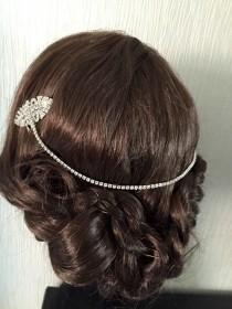wedding photo - Hair Chain -Art Deco- crystal forehead wedding headdress -, Bo Ho forehead jewellery , crystal headdress hair combs , crystal bun wrap