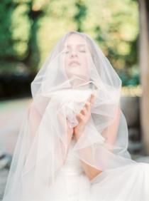 wedding photo - Italian soft tulle circle fingertip wedding veil with blusher, ivory wedding veil, blusher veil, drop veil, Style V39