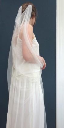 "wedding photo - Chapel length ivory wedding veil 90"" plain cut edged. Drape style veil. FREE UK POSTAGE"