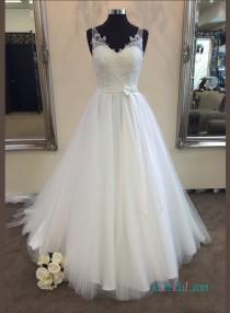 wedding photo - Simple v neck a line tulle wedding bridal dress