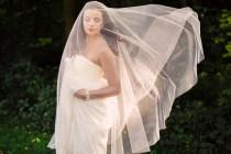 wedding photo - drop veil, circle veil, bridal veil, long veil, wedding veil, english net veil, blusher veil, soft tulle veil, simple veil - GOSSAMER