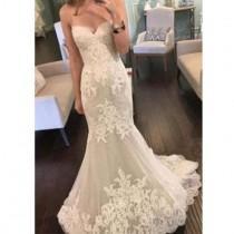 wedding photo - 2017 Strapless Sweetheart Lace Mermaid Elegant Simple Charming Cheap Wedding Dress , WD0175