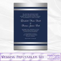 wedding photo - Navy Silver Wedding Invitations Template, Diy Blue Silver Foil Striped Shower Party Invites Printable, Editable Text, Instant Download P122