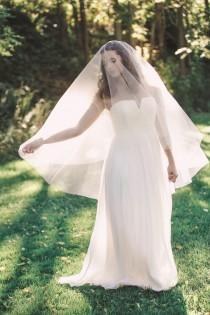 wedding photo - veil with blusher, wedding veil, bridal veil, drop veil, circle veil, ivory veil, bohemian veil, italian tulle veil - FRANCESCA