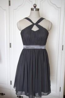 wedding photo - Dark Gray Short Halter Bridesmaid Dress Grey Chiffon Knee-length Bridesmaid Dress-Custom Dress
