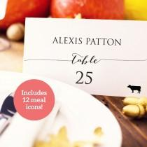 wedding photo - Wedding Place Card with Meal Icons Template, DIY Editable Card, Food Icon, Seating Card, Menu Icons, Wedding Printable Escort Cards,