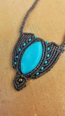 ffd0c0ba Magic stone turquoise macrame necklace,gemstone jewelry, brass necklace,  boho jewelry, tribal jewelry, yoga talisman, turquoise stone