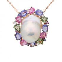 wedding photo - Black Friday 2016 Sale, Baroque Freshwater Pearl, Sapphire, Tanzanite & Diamond Pendant Necklace 14k Rose Gold, Pearl Pendants, Anniversary Gifts, Wedding Jewelry