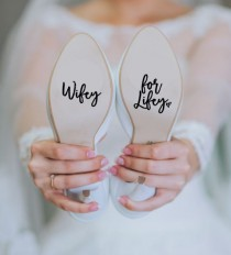 wedding photo - Wifey for Lifey Wedding Heels Shoes Decal Sticker Something Blue Bride FREE SHIPPING