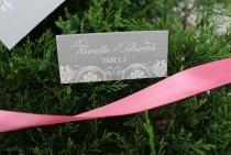 wedding photo - Blush Lace Wedding Placecards, Wedding Escort Cards, Lace Place Cards, Dark Gray Place Cards, Blush Place Cards, Gray Vintage Placecards
