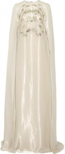 wedding photo - Oscar de la Renta - Cape-back Embellished Organza Gown - Off-white