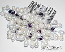 wedding photo - White Pearl Purple Bridal Hair Comb Swarovski Amethyst Crystal Floral Pearl Hair Piece Beach Wedding Pearl Combs Pearl Bridal Hair Jewelry