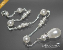 wedding photo - Bridal Pearl Backdrop Necklace White Pearl Attachment Necklace Swarovski Pearl Bridal Backdrop Necklace Wedding Pearl Back Delicate Necklace